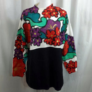 Vintage 80s 90s Hand Painted Sweater - Size 2X